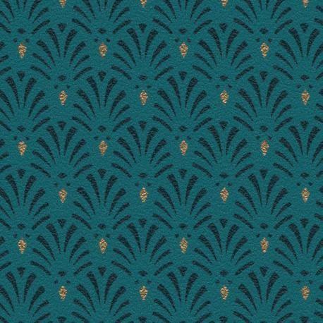 Papier Peint Intisse Motifs Coquilles Bleu Paon Avec Detail Dore Style Art Deco Chic 10 05mx53cm Raccord Motif Art Deco Papier Peint Papier Peint Art Deco