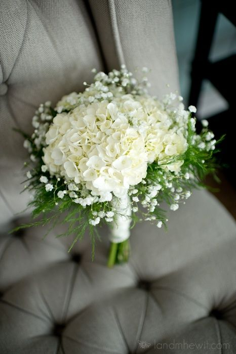 Baby's breath and hydrangea. bouquet with asparagus fern
