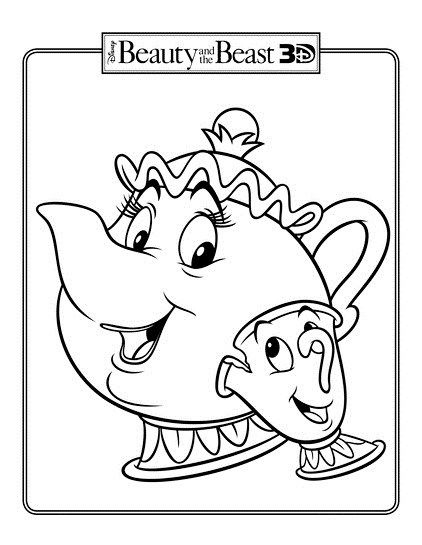 Chip And Mrs Potts Teapot Coloring Page Disney Coloring Pages Disney Beauty And The Beast Animal Coloring Pages
