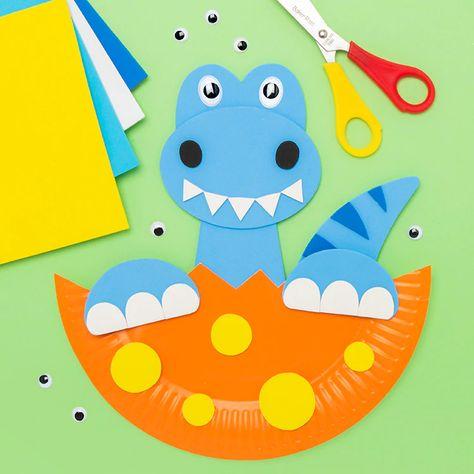 Paper Plate Hatching Dinosaur   Free Craft Ideas   Baker Ross