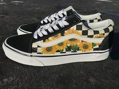 Sunflower Vans Old Skool Shoes Custom Vans Shoes Custom Sneakers Vans Shoes Custom Shoes Floral Prin Vans Schuhe Handbemalte Schuhe Vans Schuhe Damen