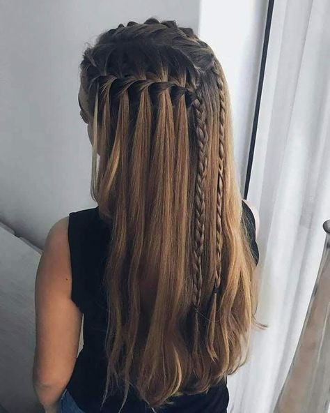 51 Cute Waterfall Braid Hairstyle Ideas For Girls Selecting a hairstyle may be difficult. If you want a show-stopper hairstyle, waterfall braid hairstyle is the one for you. Shaved Side Hairstyles, French Braid Hairstyles, Box Braids Hairstyles, Hairstyle Ideas, Heart Hairstyles, Hairstyle Braid, Bridal Hairstyle, Hair Updo, Wedding Hairstyles