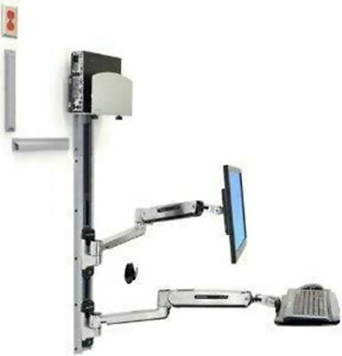Details About Ergotron Lx Sit Stand Wall Mount System With Medium Silver Cpu Holder Accommodat In 2020 Wall Mounted Tv Aluminum Screen Wall Mount
