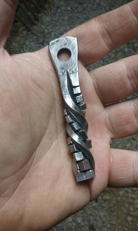 Steel Key Fob Hand Forged Works on Belt or Belt Loop Key Holder Iron Steel Blacksmith Made Ohio Made