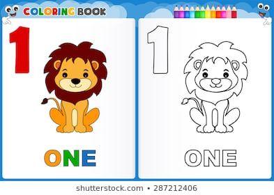 Coloring Page Number One With Colorful Sample Printable Worksheet For Preschool Kindergarten Kids To I Printable Flash Cards Coloring Books Kindergarten Kids
