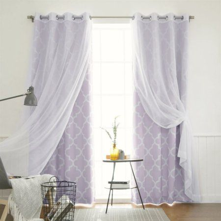 Best Home Fashion 4 Piece Gathered Sheer Voile And Moroccan Tile
