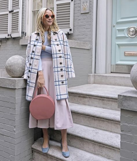 chic pastel outfit with cute coat and rounded bag