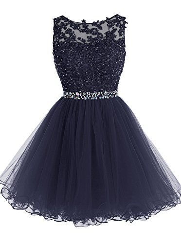 Tideclothes Short Beaded Prom Dress Tulle Applique Evening Dress Navy US10 Tideclothes