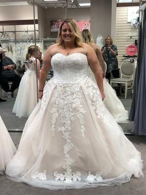 Sheer Lace And Tulle Plus Size Wedding Dress David S Bridal In 2020 Davids Bridal Wedding Dresses Sheer Wedding Dress Wedding Dresses