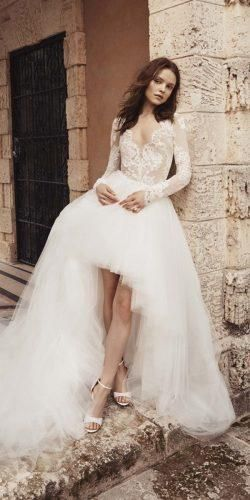 Wedding Dresses Spring 2020: Trends You Need To See ★ wedding dresses spring 2020 high low with long sleeves lace top monique lhuillier