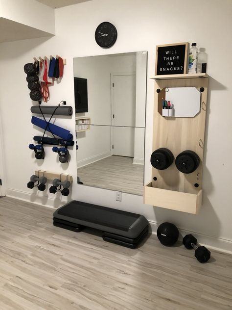 DIY Home Fitness Studio. – SunderlandHouse Home Gym Garage, Diy Home Gym, Home Gym Decor, Gym Room At Home, Workout Room Home, Basement Gym, At Home Workouts, Workout Room Decor, Home Gym Design