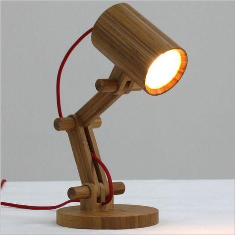 Lampe De Bureau Led Bambou E27 Lampy Derevo