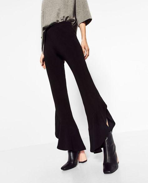 ZARA Womens New Black High Waisted Frill Hem Trousers