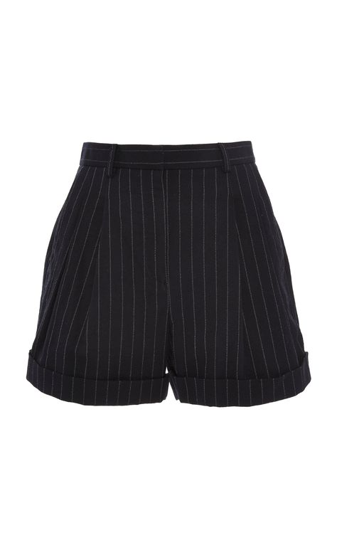 This **Philosophy di Lorenzo Serafini ** Pinstripe High Waisted Short features a high waisted fit and rolled cuffs.