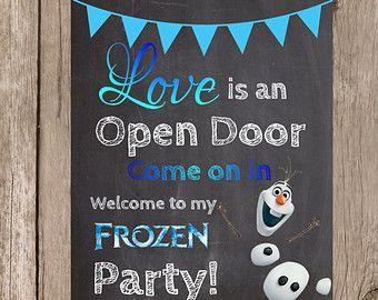 Love is an open door Elsa Birthday Party, Olaf Birthday, Frozen Birthday Invitations, Frozen Themed Birthday Party, Carnival Themed Party, Disney Frozen Birthday, 4th Birthday Parties, Frozen Party Food, 5th Birthday