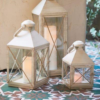 Bennett White Metal Lanterns In 2020 Lanterns Decor Metal Lanterns White Lanterns