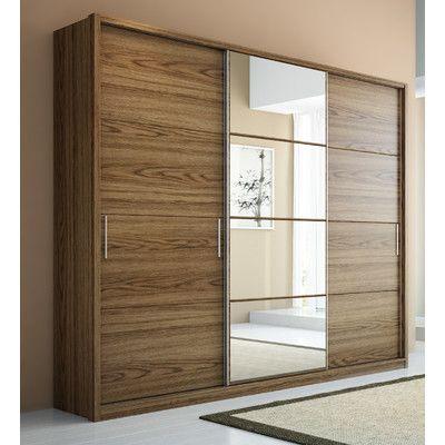 Amazing Schiebet ren Manhattan Schr nke Komfort Kleiderschrank Spiegel Kleiderschrank sets Schokolade Wandschrank M bel