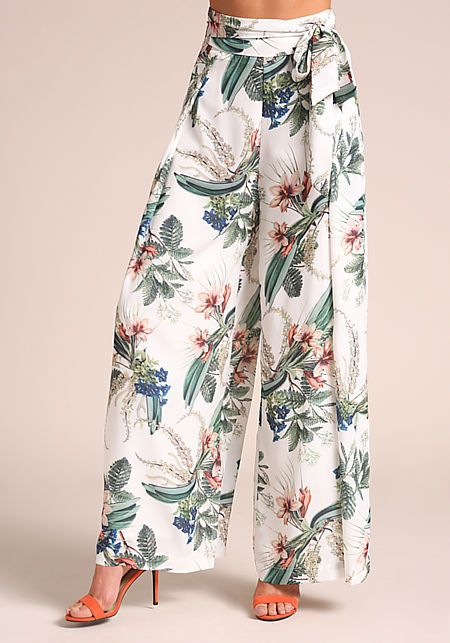Junior Clothing | Ivory Floral High Rise Palazzo Pants - New | Loveculture.com