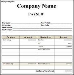 Get Employee Pay Slip Template Format | Projectmanagersinn