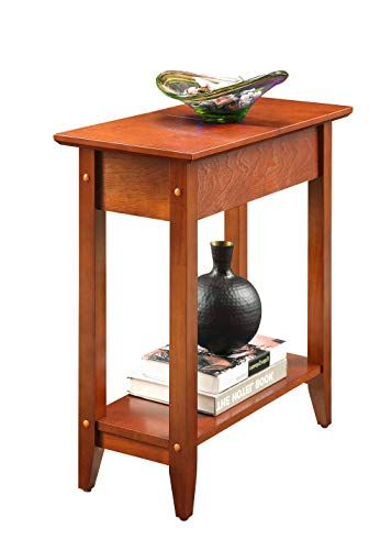 Chairside End Table Narrow Sofa Couchside Tv Coffee Accent Table Cherry Brown Modern Furniture With Storage Shelf For L Modern Furniture Accent Table Furniture