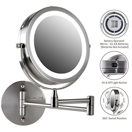 Ovente Wall Mount Led Lighted Makeup Mirror 7 Inch Battery Operated Double Sided 1x 10x Magnification For Bedroom Bathroom Nickel Brushed Mfw70br1x10x Lighted Magnifying Makeup Mirror Wall Mounted Makeup