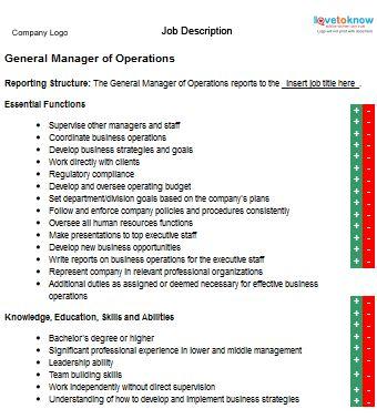 General Manager Operations Job Description my place Pinterest - general manager job description