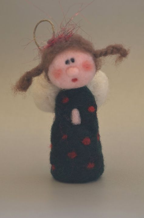 Needle felted Angel with spotted dress by TheFeltDrawer on Etsy
