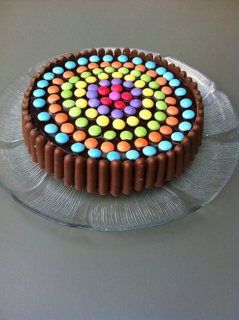 Pour fêter ( en avance ) les 6 ans de ma fille à l école j ai voulu réalisé un gâteau pleins de couleurs !!! Un bon gâteau au chocolat recouvert de ganache ,décorer avec des smarties et des fingers !!! Place à la recette Pour la ganache ( il faut la commencer...