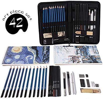 Amazon Com Cool Bank Professional Art Set Drawing And Sketching Set Drawing Sketching And Charcoal Pencils 42pcs Art Kits For Kids Art Set Art Kit