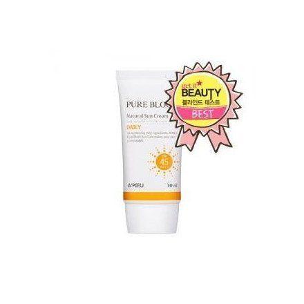 A Pieu Pure Block Natural Sun Cream Spf45 Pa Apieu Sun Cream
