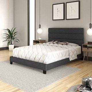 Sleep Sync Regatta Upholstered Linen Tri Panel Platform Bed Frame