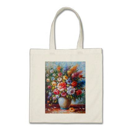 Vintage Floral Bright Country Flowers Painting Tote Bag Flowers
