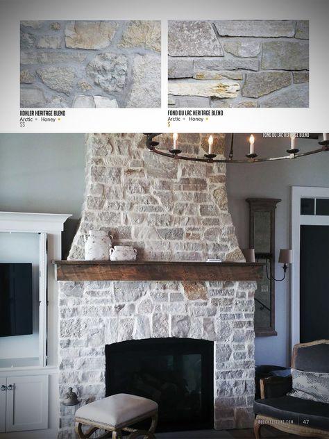 Stone Veneer Fireplace, Natural Stone Fireplaces, Rustic Fireplaces, Farmhouse Fireplace, Home Fireplace, Fireplace Surrounds, Fireplace Design, Fireplace With Stone, Kitchens With Fireplaces