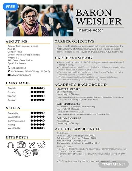 An Eye Catching Resume Template For Those Experienced In The Field Of Theater Use Premium Quality Acting Resume Template Resume Design Template Acting Resume