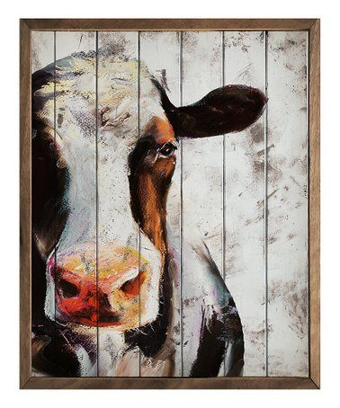 Loving This Painted Cow Wall Art On Zulily Zulilyfinds Cow Paintings On Canvas Cow Wall Art Cow Canvas