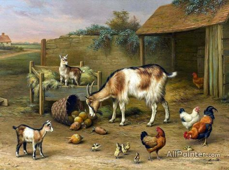 Dream-art Oil painting Eugene Remy Maes Sheep and hens cocks chickens in a barn