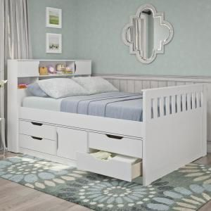 Ne Kids 7075 School House White Full Size Captains Bed Ne Kids Bed With Storage Drawers Bed Frame With Storage Kids Beds With Storage Bed Storage Drawers