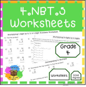 Multiplying Numbers 4 Nbt 5 Worksheets Math Division Worksheets Guided Math Lessons 2nd Grade Math Worksheets