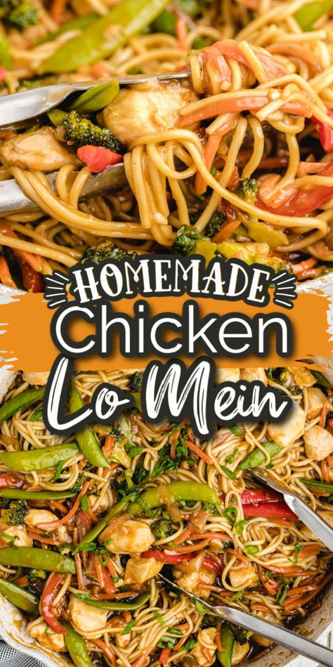 This easy homemade version of Chicken Lo Mein is better than takeout and comes together quickly and easily. Flavorful homemade brown sauce and perfectly tossed over chewy Lo Mein noodles, tender chicken, and crunchy vegetables.