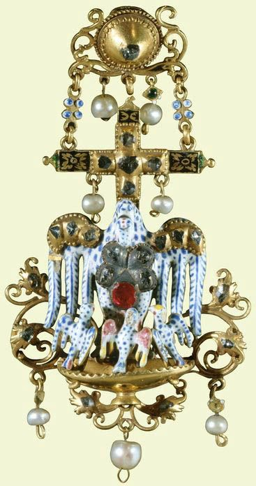 Pendant with a pelican in her piety, gold, émail en ronde bosse, rose-cut diamonds, Burmese rubies, saltwater pearls and a baroque pearl, Spanish, circa late 17th century - early 18th century