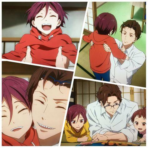 A little and cute Rin with his father, Toraichi Matsuoka♡♡