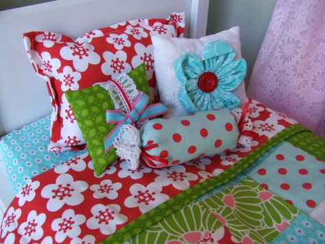 American Girl Doll Bedding - 5pc Set - Decorative Pillows, Quilted Coverlet - Red Aqua White Pinks Greens