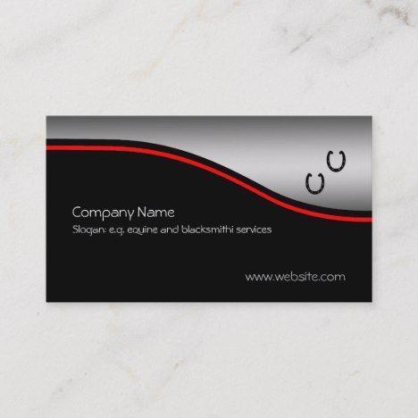 Horse Shoes Red Swoosh On Metallic Effect Business Card Zazzle Com Unique Business Cards Business Card Template Printing Double Sided