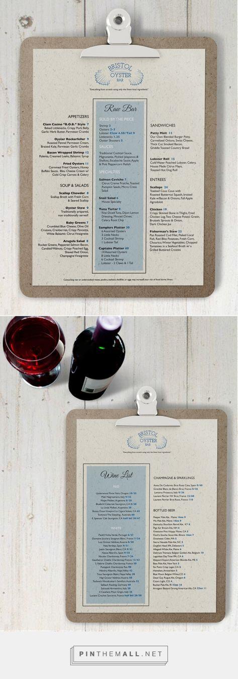 Bristol a Oyster Bar Menu Design -Amanda Sem