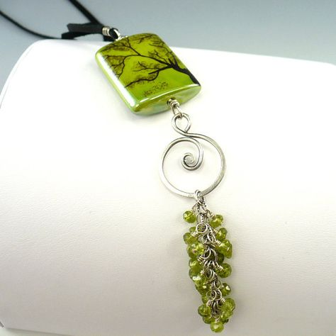 Gorgeous!   Ceramic Pendant Peridot Gemstone Necklace Sterling by OzmayDesigns, $99.00