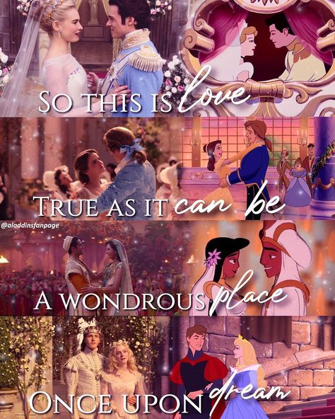 """Disney & Aladdin Fan Page on Instagram: """"Heyy guys! So I made this edit of the princesses the iconic wedding/ending scenes together ❤️ I thought both animated and live action…"""""""