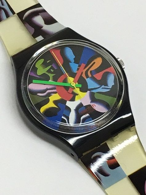 Vintage Swatch Watch Twelve Apostles 1993 Marc Kostabi Case Near Mint Condition Retro Summer Gift Colorful Clear by ThatIsSoFunny on Etsy