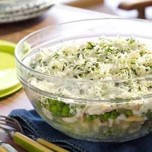 Make-Ahead Hearty Six-Layer Salad Recipe from Taste of Home -- shared by Noreen Meyer of Madison, Wisconsin