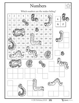 Here's a hundred board covered by snakes. Students must determine and write the missing numbers.