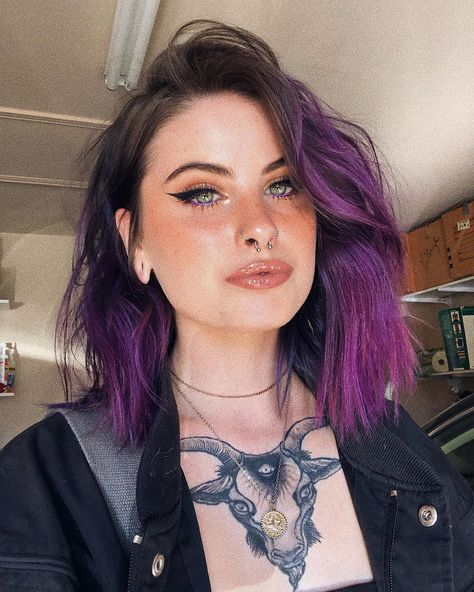 is absolutely mesmerizing in our Plum Purple Dark Purple Hair, Dyed Hair Purple, Hair Color Purple, Hair Dye Colors, Dye My Hair, Cool Hair Color, Plum Purple, Purple Hair Streaks, Short Hair With Purple